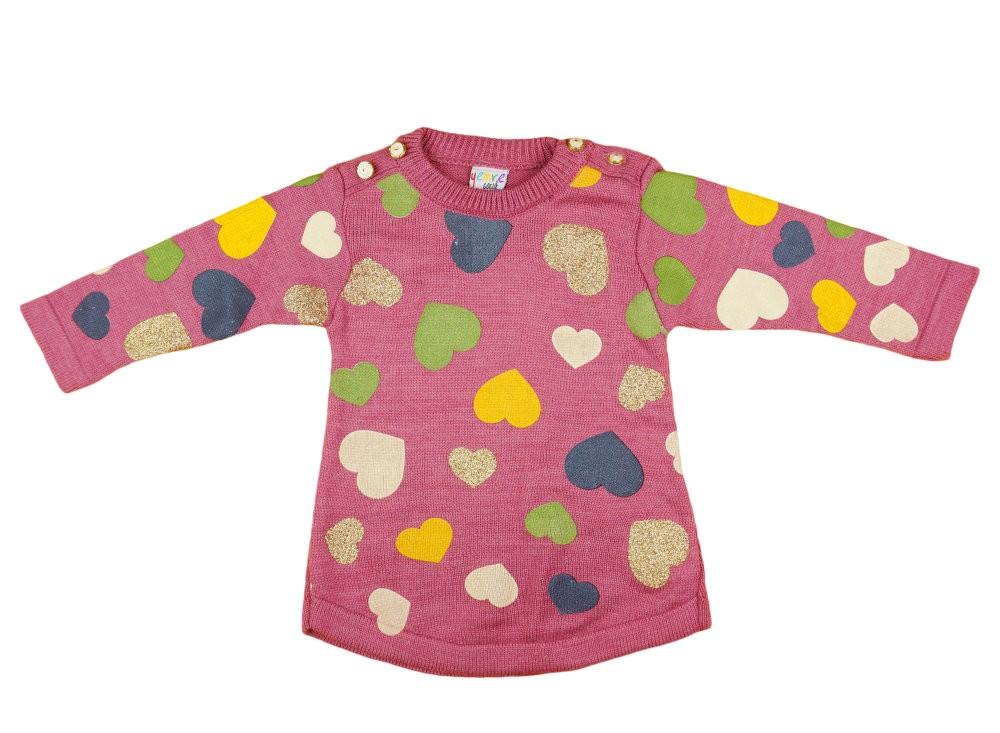 b0967a5b69 Lányka kötött pulóver szívekkel nyomott (TUR) - Babaruha ...