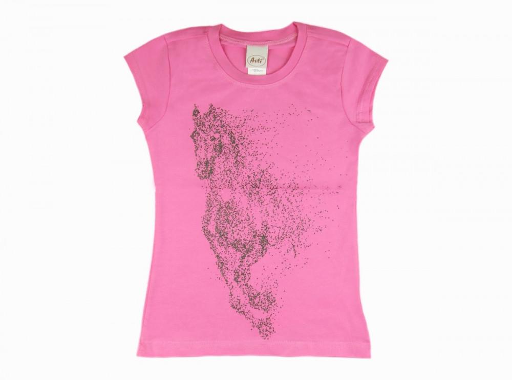 Lovas mintás rövid ujjú lányka póló (méret: 104 158