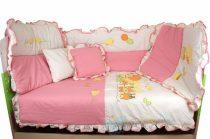 Belis 8 részes ágynemű szett - Rózsaszín/fehér kacsa vonat