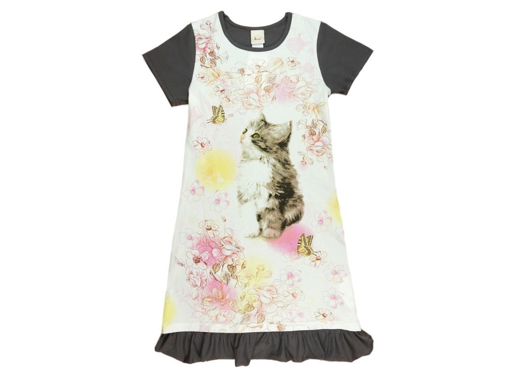 ff6a42f507 Cicás rövid ujjú nyári lányka ruha (méret: 116-140)