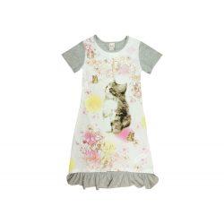 Cicás rövid ujjú nyári lányka ruha (méret: 116-140)