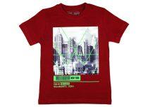Fiú rövid ujjú póló New York épületek mintával