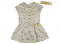 Lányka ruha arany színű szívekkel, hajpánttal