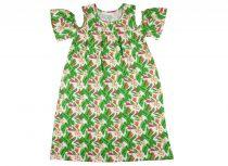 Lányka nyitott vállú ruha zöld-pink virágos