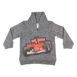 Fiú galléros kötött pulóver Versenyautó mintával