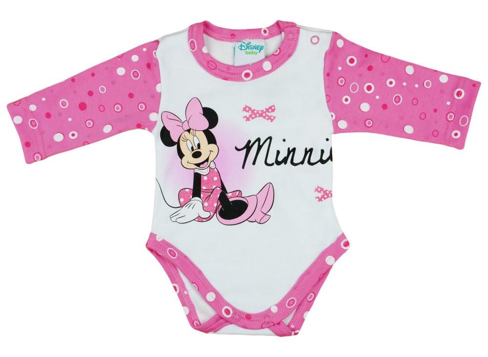 Disney Minnie lányka hosszú ujjú kombidressz pöttyös ujjú - Babaruha ... 645ec76f68