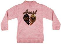 Lányka hosszított, kötött pulóver Flitteres szív (TUR)