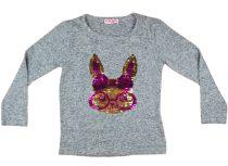Lányka pulóver átsimítós flitteres Nyúl (TUR)