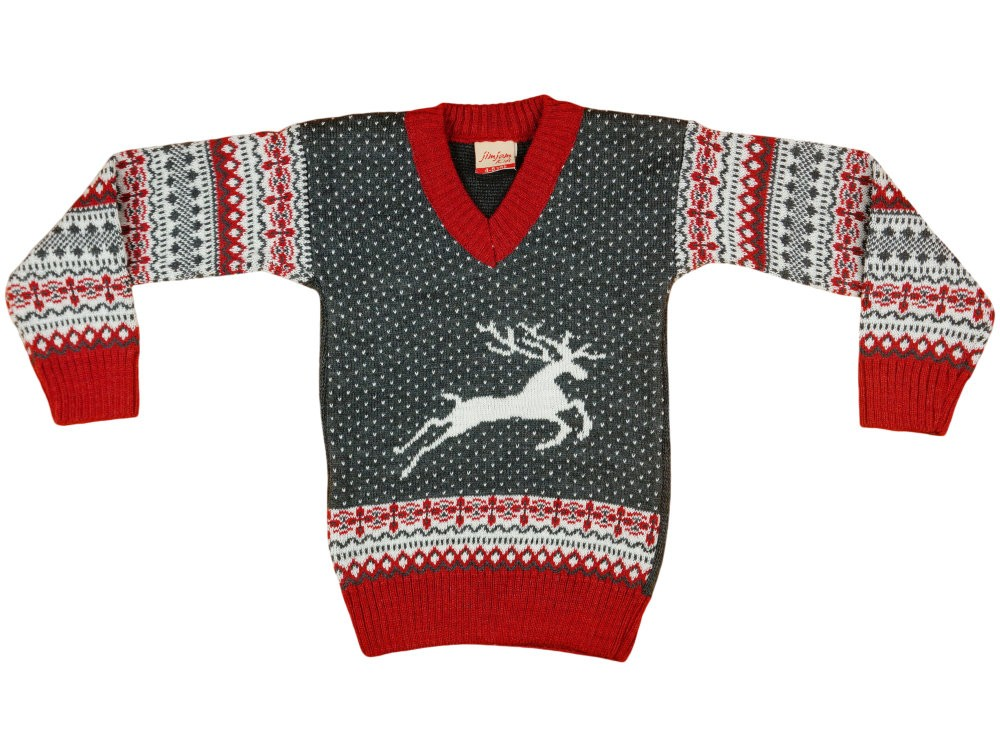 Fiú V nyakú kötött pulóver Norvég mintás (TUR)
