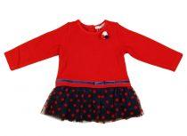 Lányka hosszú ujjú ruha kék-piros pöttyös tüllel (