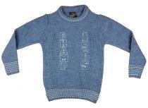 Fiú kereknyakú kötött pulóver Champ hímzéssel (TUR