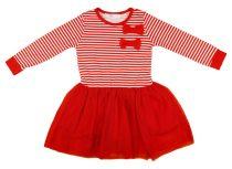 Lányka hosszú ujjú ruha piros-fehér csíkos, masnis