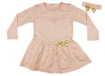 Lányka hosszú ujjú ruha arany színű szívekkel, hajpánttal (TUR)