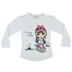 Lányka hosszú ujjú póló Happy winter (TUR)