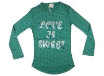 Lányka hosszú ujjú póló Love is sweet (TUR)