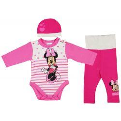 Disney Minnie 3 részes (sapka+nadrág+body) szett szívecskés