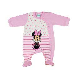 Disney Minnie hosszú ujjú, elöl patentos lányka rugdalózó csíkos, szíves