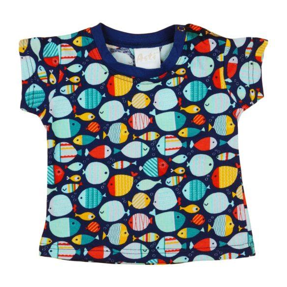 62-es méretű, baba póló, halacska mintával