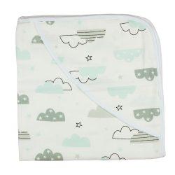 Felhőcskés tetra textil kapucnis baba törölköző