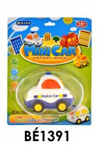 Bébi autó, el., 2-féle: rendőr/taxi, 9 cm, hang+fény, 16,5*21 cm lapon V