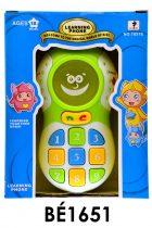 Bébi telefon, el., sok dal+beszél+váltóhang+váltófény, 14x18 cm nyitott dob. (3xAAA benne)
