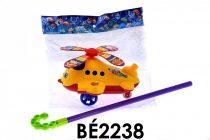 Tologatós repülőgép/helikopter, nyelvöltögetős, csilingel, 22 cm, zacsk. V
