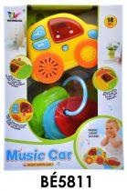 Bébi zenélő autó forma, el., vil., + hang + kulcs, 15x21 cm dob. (2xAA)