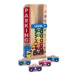Melissa & Doug Fa készségfejlesztő játék, Színes-számos autós parkolótorony