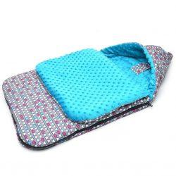Babakocsi bundazsák - Színes szívek kék