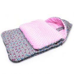 Babakocsi bundazsák - Színes szívek rózsaszín