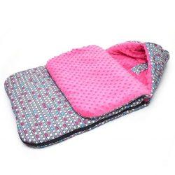 Babakocsi bundazsák - Színes szívek pink