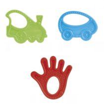 Műanyag rágóka 3 féle piros-tenyér, zöld-autó, kék-autó 1 db ***