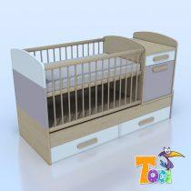 Todi Kaméleon-juhar – kombi gyerekágy, fékes - 10 színben