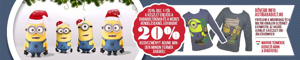 20% Kedvezmény minden Minion ruhára!